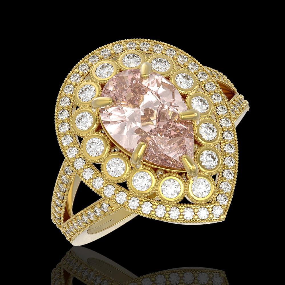 4.22 ctw Morganite & Diamond Ring 14K Yellow Gold - REF-195F6N - SKU:43144
