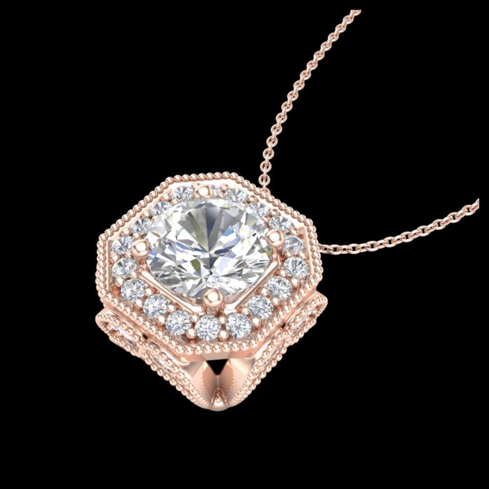 1.54 ctw VS/SI Diamond Solitaire Art Deco Necklace 18K Rose Gold - REF-409Y3X - SKU:37326