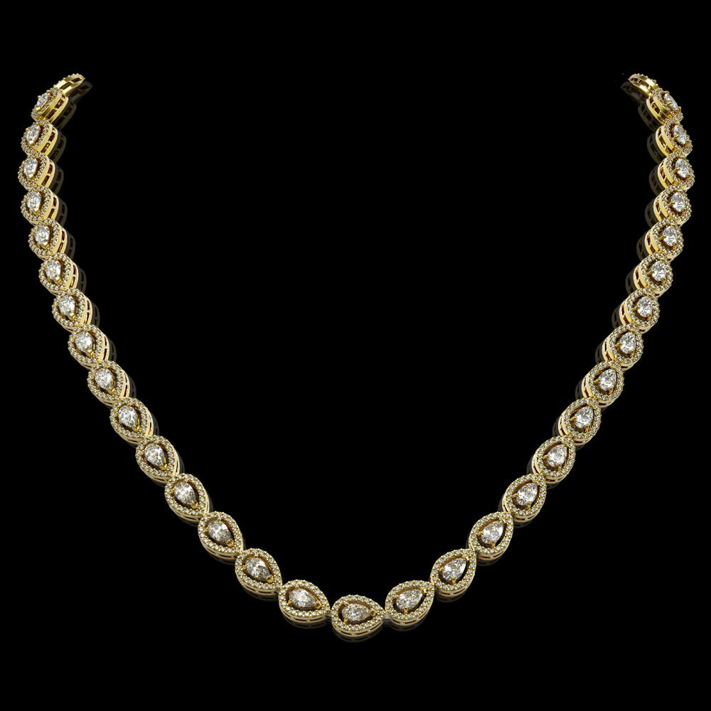 17.28 ctw Pear Diamond Necklace 18K Yellow Gold - REF-1497A3V - SKU:42913