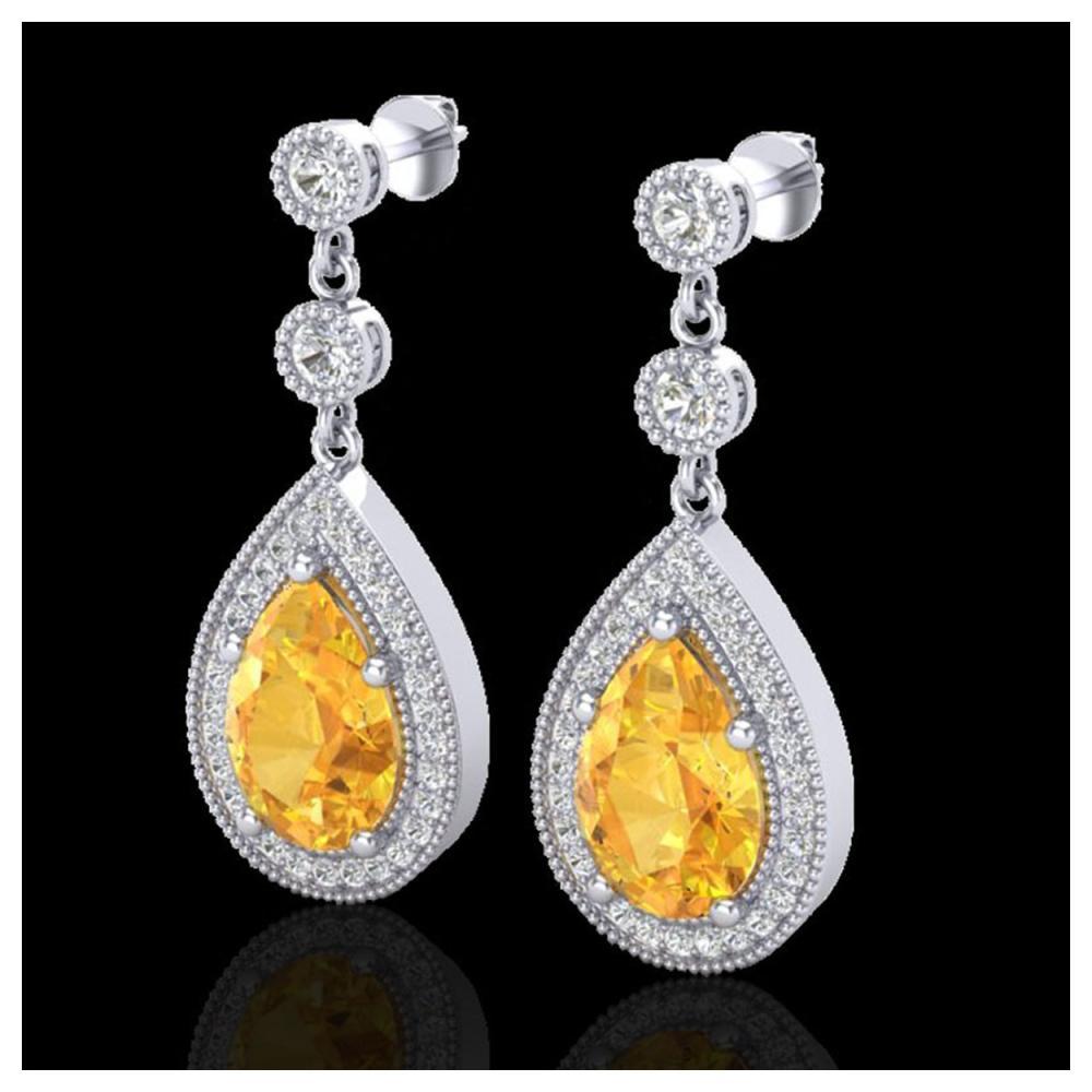 4.50 ctw Citrine & VS/SI Diamond Earrings 18K White Gold - REF-67K5W - SKU:23112