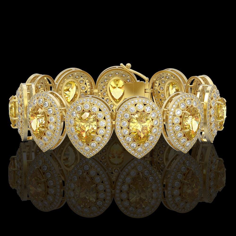 46.44 ctw Canary Citrine & Diamond Bracelet 14K Yellow Gold - REF-1328K2W - SKU:43270