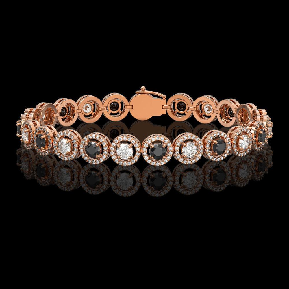 8.83 ctw Black & Diamond Bracelet 18K Rose Gold - REF-569V5Y - SKU:42879