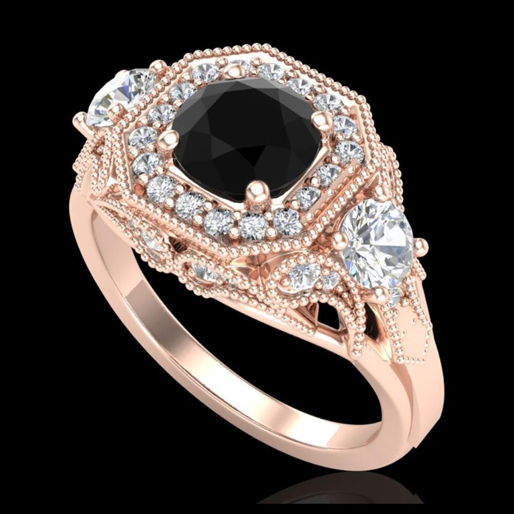 2.11 ctw Fancy Black Diamond Art Deco 3 Stone Ring 18K Rose Gold - REF-180N2A - SKU:38298