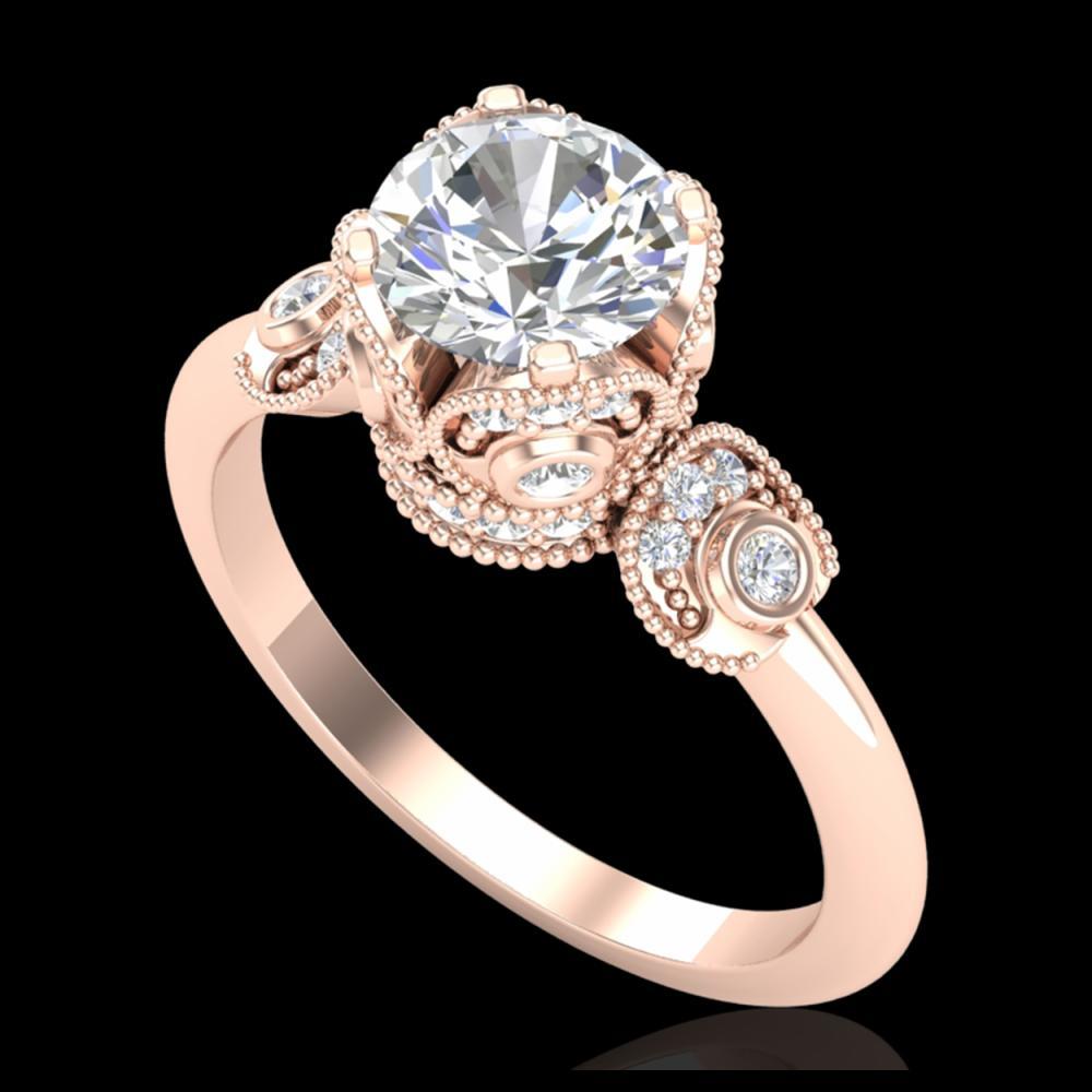 1.75 ctw VS/SI Diamond Solitaire Art Deco Ring 18K Rose Gold - REF-398Y2X - SKU:36855