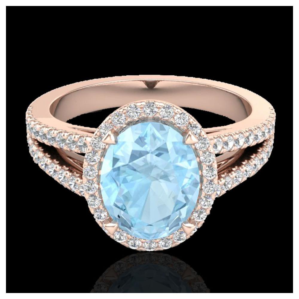 3 ctw Aquamarine & VS/SI Diamond Halo Ring 14K Rose Gold - REF-77K8W - SKU:20929