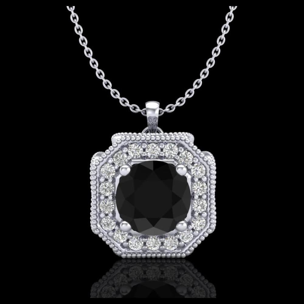 1.54 ctw Fancy Black Diamond Art Deco Stud Necklace 18K White Gold - REF-120A2V - SKU:38290