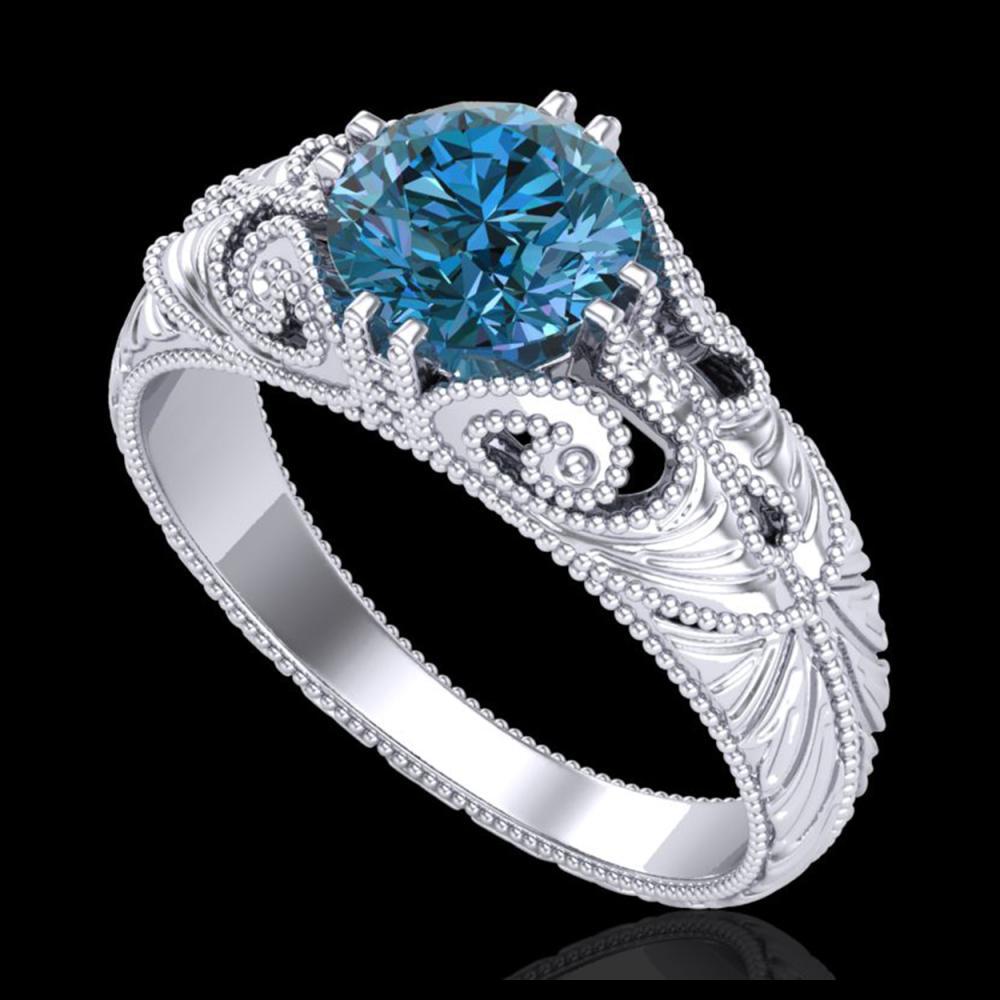 1 ctw Intense Blue Diamond Art Deco Ring 18K White Gold - REF-190A9V - SKU:37530