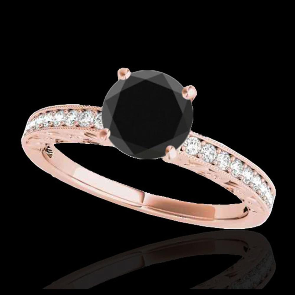 1.43 ctw VS Black Diamond Solitaire Ring 10K Rose Gold - REF-40R8K - SKU:34616