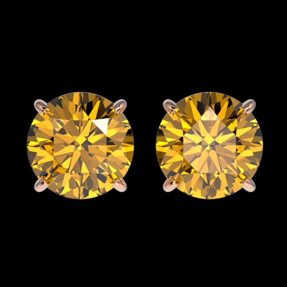 2 ctw Intense Yellow Diamond Stud Earrings 10K Rose Gold - REF-360F2N - SKU:33089