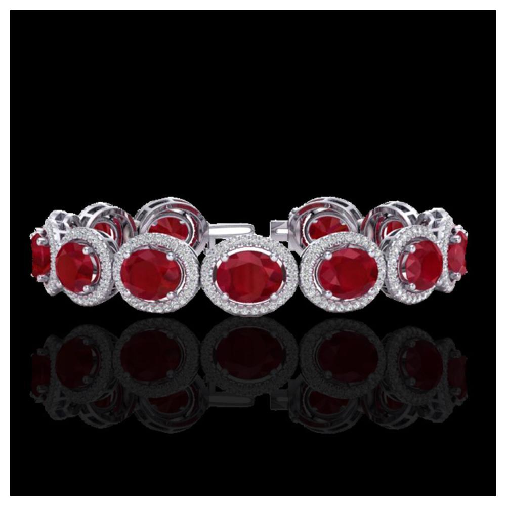 30 ctw Ruby & VS/SI Diamond Bracelet 10K White Gold - REF-454H5M - SKU:22695