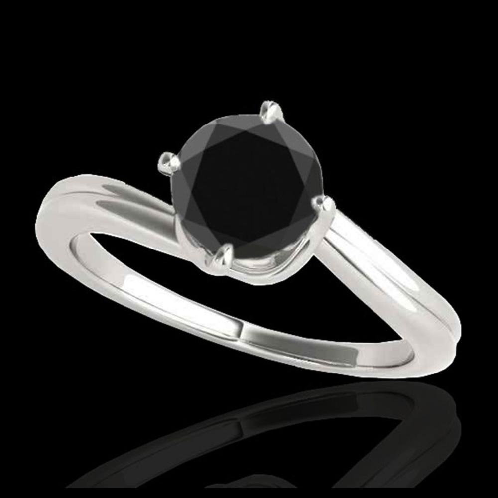 1 ctw VS Black Diamond Bypass Solitaire Ring 10K White Gold - REF-33X5R - SKU:35033