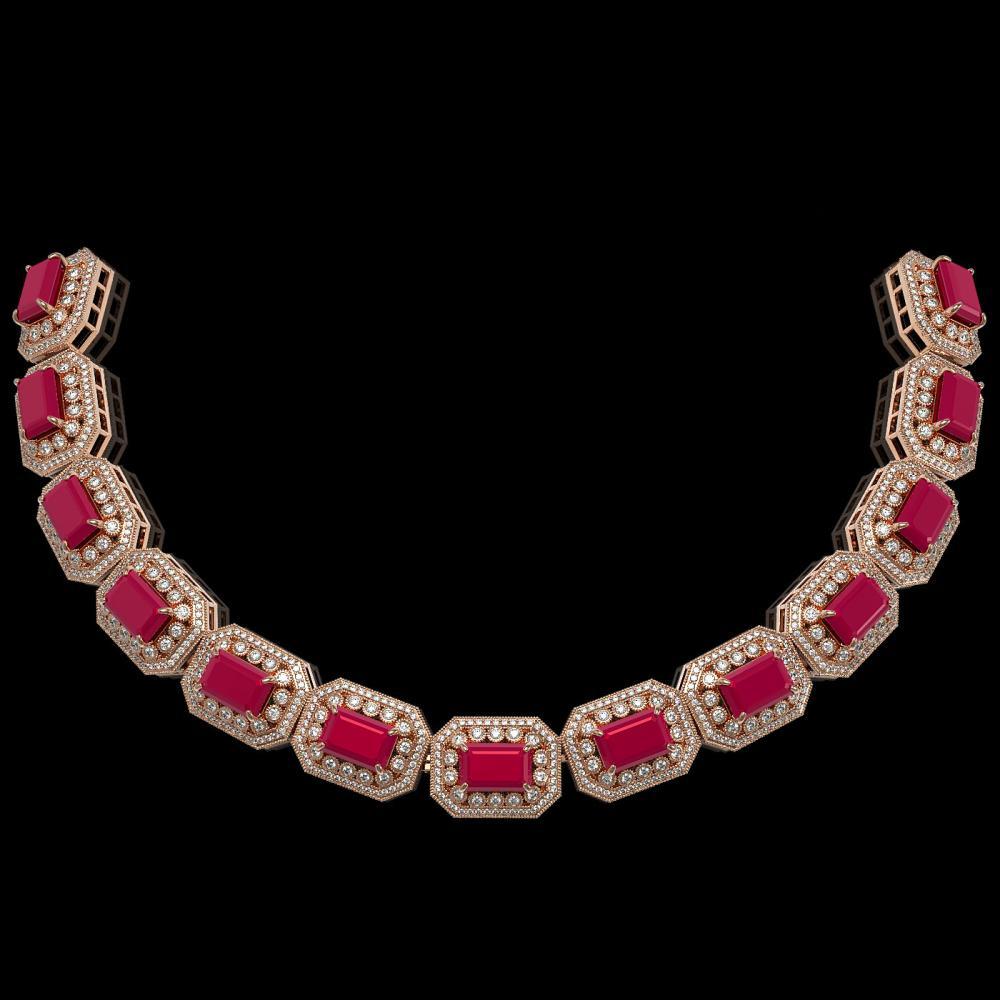 137.65 ctw Ruby & Diamond Necklace 14K Rose Gold - REF-2875F6N - SKU:43464