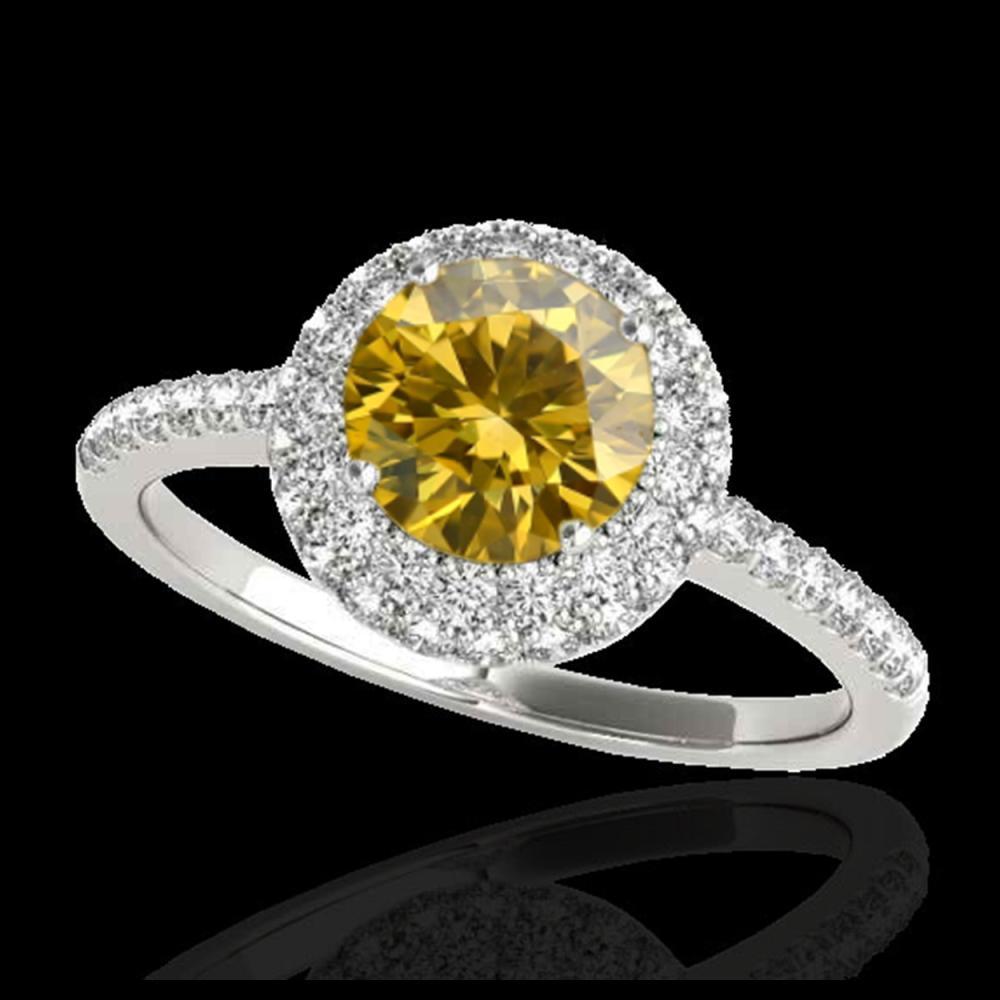 2.15 ctw SI/I Fancy Intense Yellow Diamond Ring 10K White Gold - REF-327A3V - SKU:33686