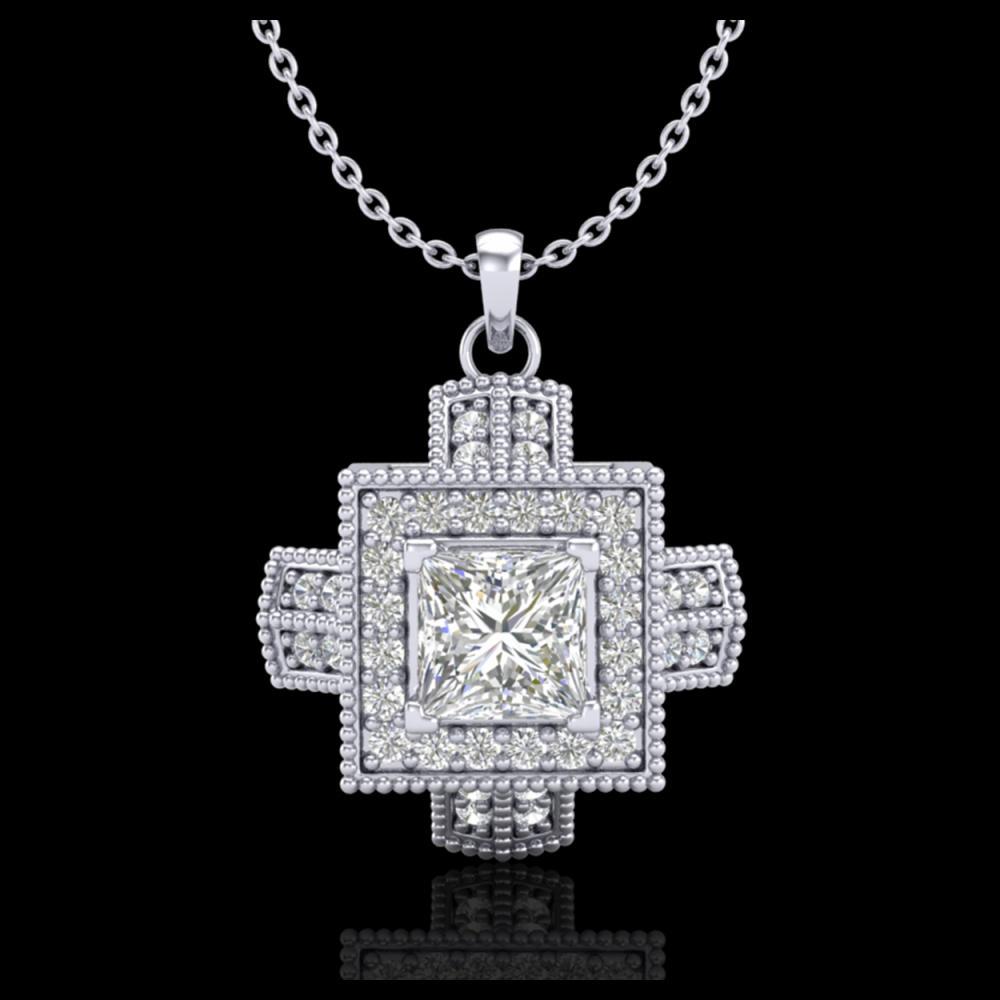 0.84 ctw Princess VS/SI Diamond Necklace 18K White Gold - REF-149F3N - SKU:37190