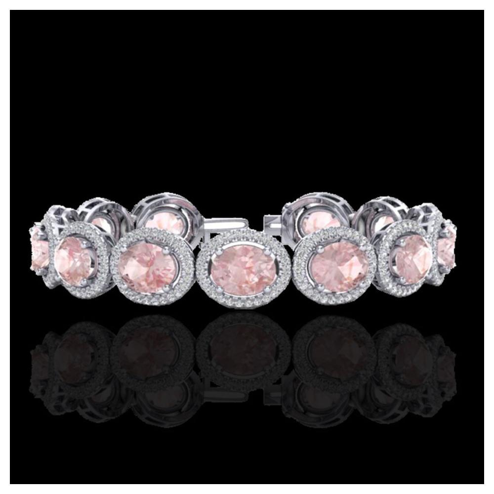 23 ctw Morganite & VS/SI Diamond Bracelet 10K White Gold - REF-527X3R - SKU:22691