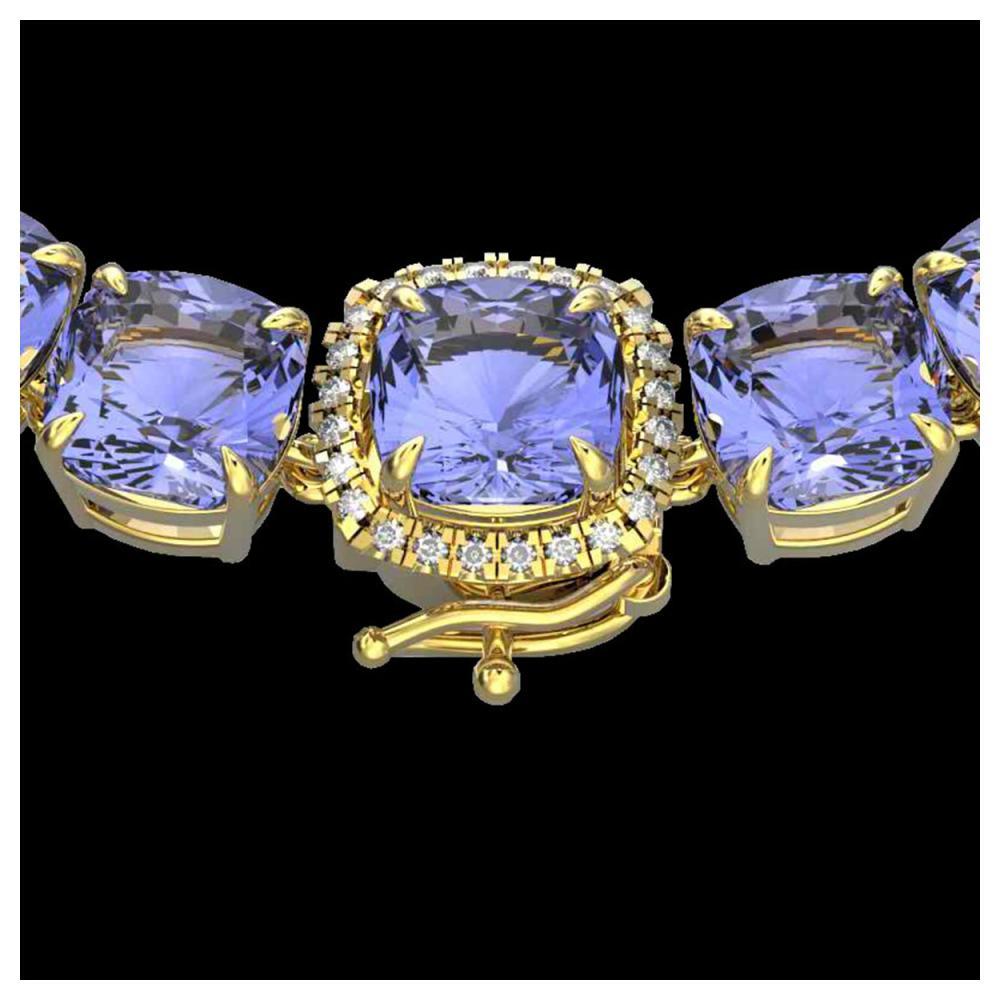 100 ctw Tanzanite & Diamond Necklace 14K Yellow Gold - REF-1345X3R - SKU:23363