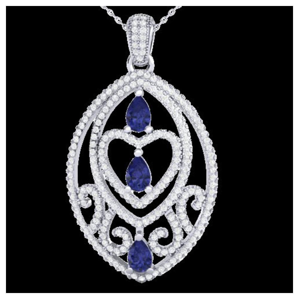 3.50 ctw Tanzanite & VS/SI Diamond Heart Necklace 18 18K White Gold - REF-218R2K - SKU:21297