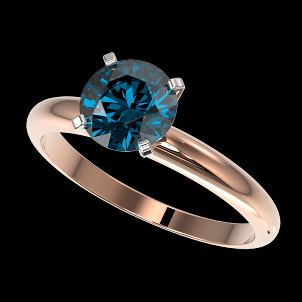 1.52 ctw Intense Blue Diamond Ring 10K Rose Gold - REF-180F2N - SKU:36446