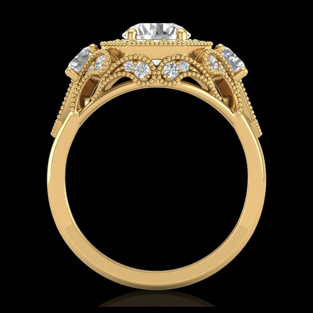 2.11 ctw VS/SI Diamond Solitaire Art Deco 3 Stone Ring 18K Yellow Gold - REF-490X9R - SKU:37330