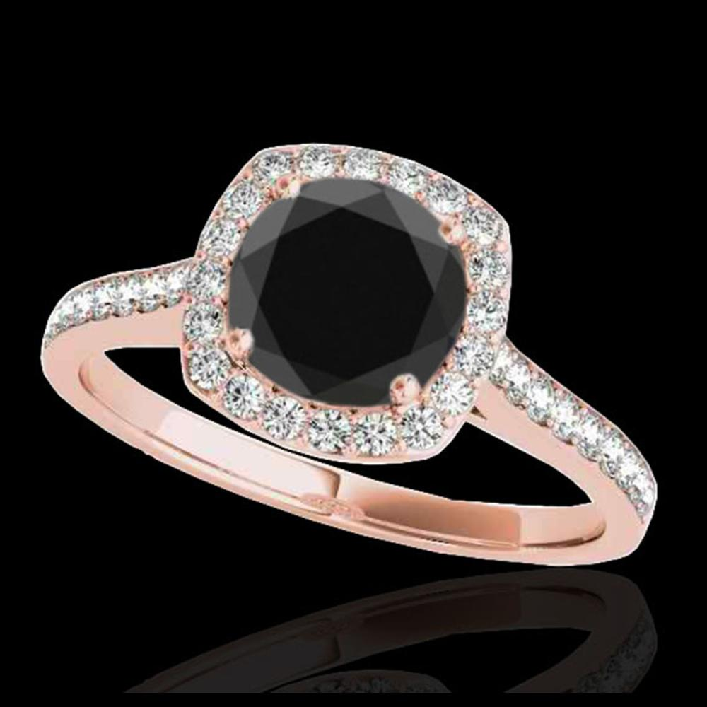 1.40 ctw VS Black Diamond Solitaire Halo Ring 10K Rose Gold - REF-46F2N - SKU:34188