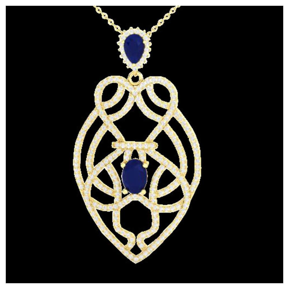 3.50 ctw Sapphire & VS/SI Diamond Heart Necklace 14K Yellow Gold - REF-180K2W - SKU:21253