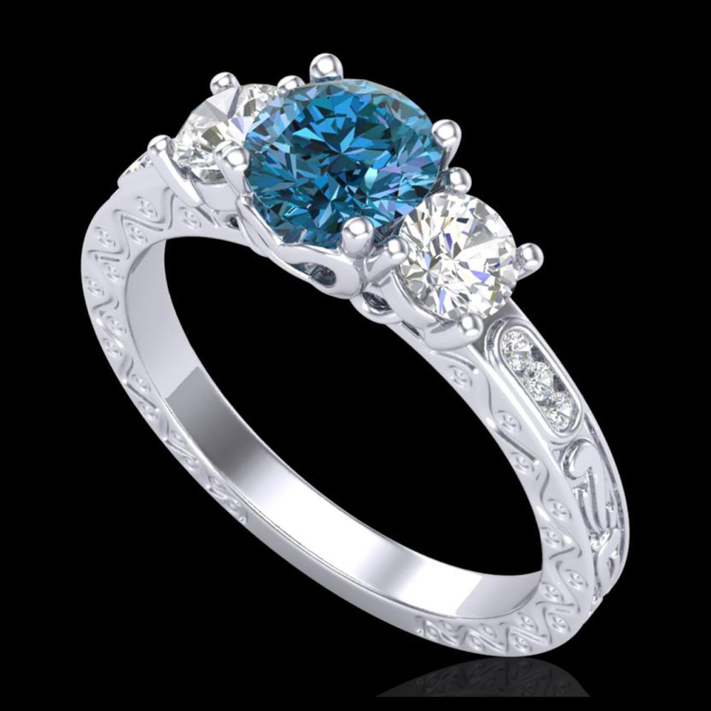 1.41 ctw Intense Blue Diamond Art Deco 3 Stone Ring 18K White Gold - REF-180M2F - SKU:37761