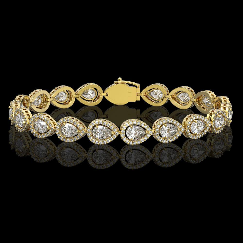 12.38 ctw Pear Diamond Bracelet 18K Yellow Gold - REF-1702X8R - SKU:42646