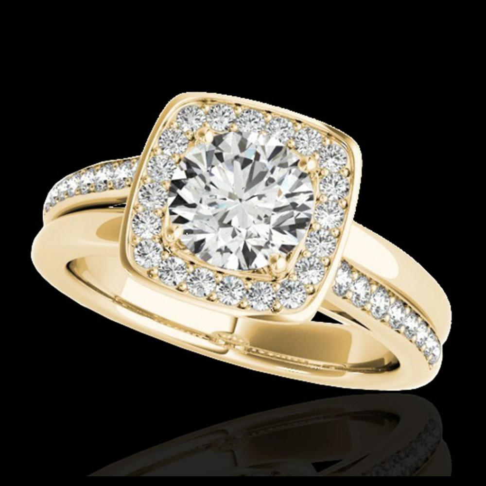 1.33 ctw H-SI/I Diamond Solitaire Halo Ring 10K Yellow Gold - REF-197Y7X - SKU:34152