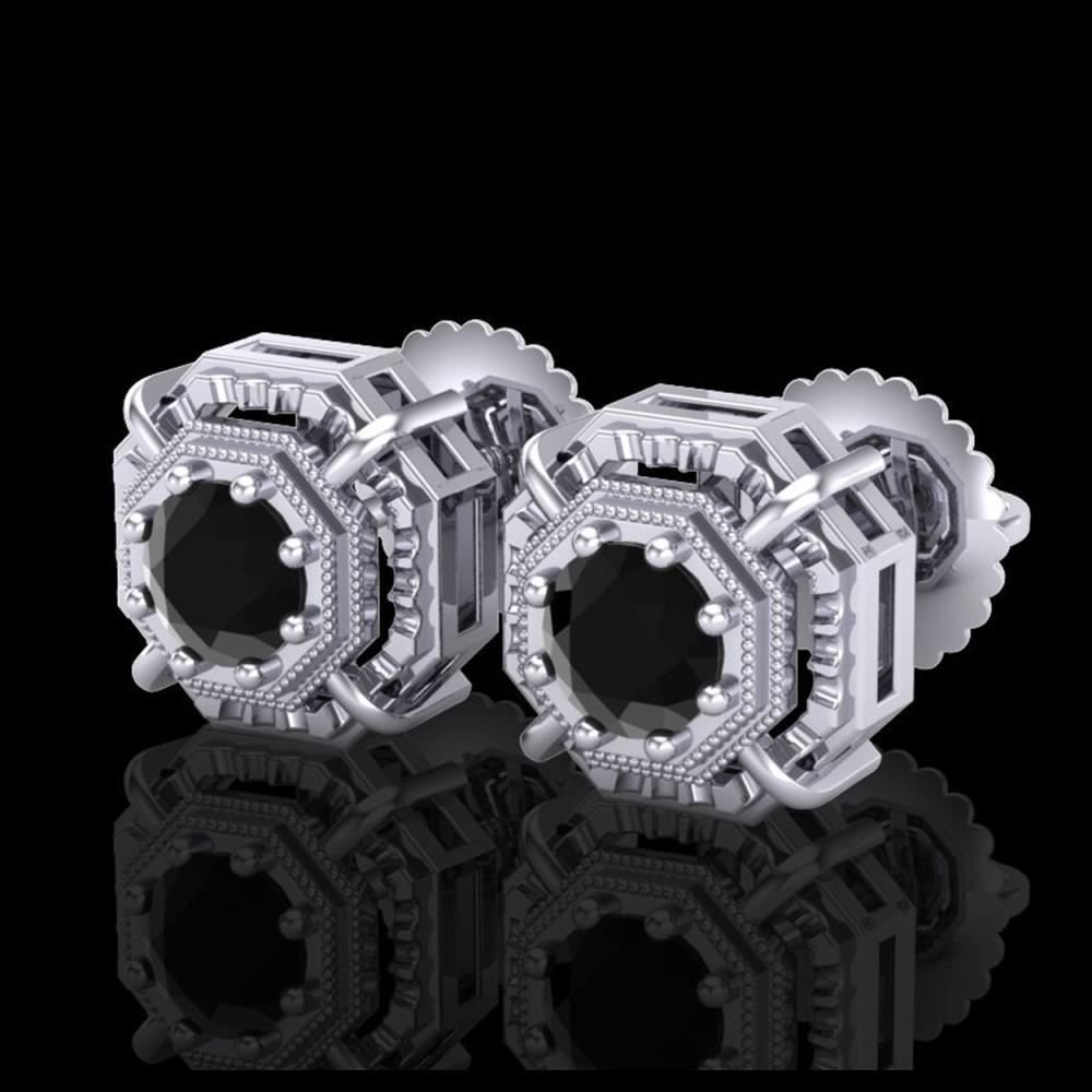 1.11 ctw Fancy Black Diamond Art Deco Stud Earrings 18K White Gold - REF-100R2K - SKU:37450