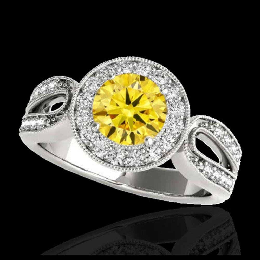 1.4 CTW Certified SI/I Fancy Intense Yellow Diamond Solitaire Halo Ring 10K White Gold - REF-180T2M - 34565