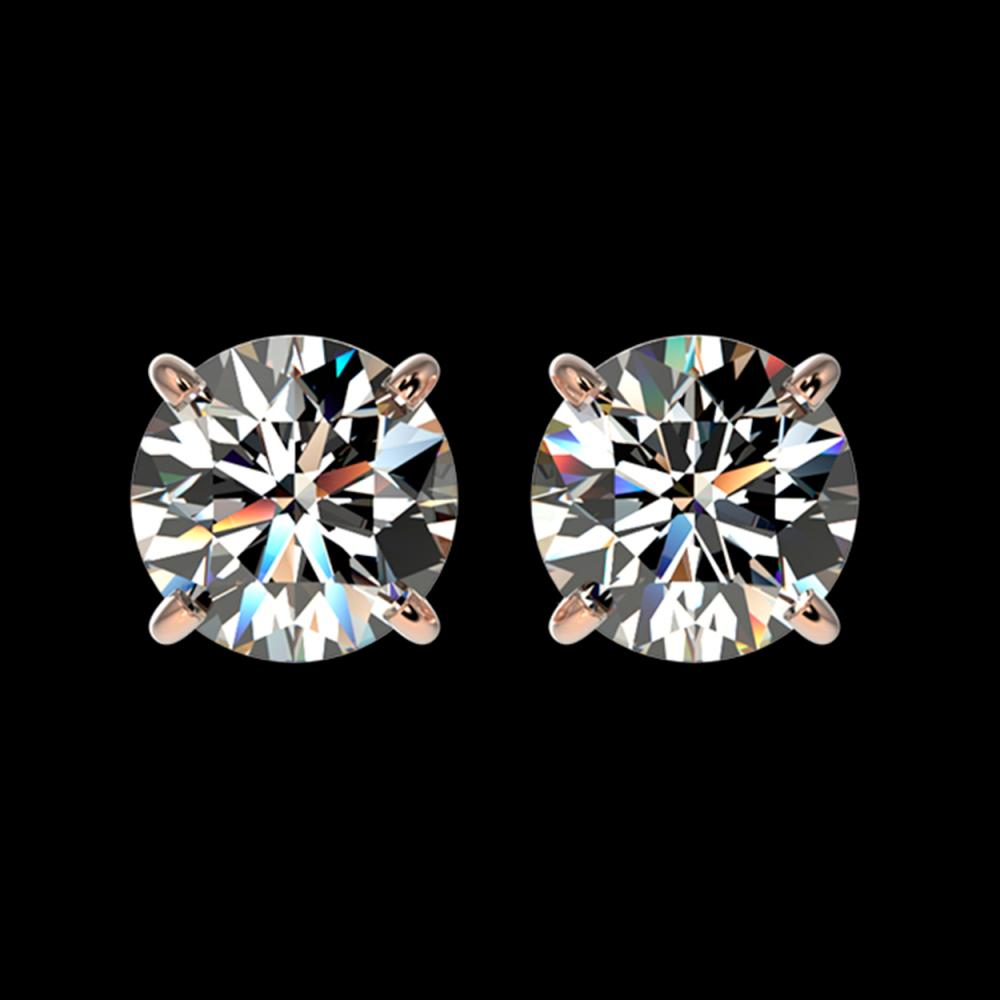 1.55 CTW Certified H-SI/I Quality Diamond Solitaire Stud Earrings 10K Rose Gold - REF-183F2N - 36604