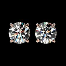 Lot 5004: 1.55 CTW Certified H-SI/I Quality Diamond Solitaire Stud Earrings 10K Rose Gold - REF-183F2N - 36604