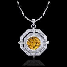 Lot 5003: 0.75 CTW Intense Fancy Yellow Diamond Art Deco Stud Necklace 18K White Gold - REF-153T6M - 37462