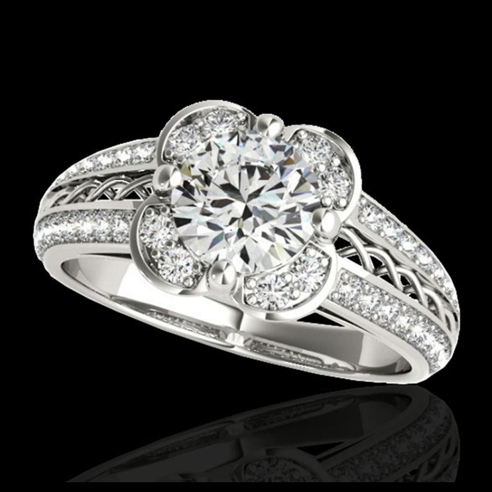 1.5 CTW H-SI/I Certified Diamond Solitaire Halo Ring 10K White Gold - REF-180A2X - 34256
