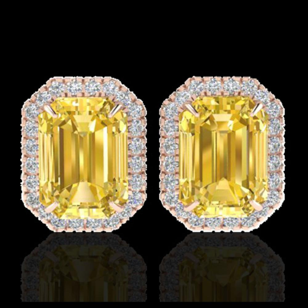 8.40 CTW Citrine & Micro Pave VS/SI Diamond Halo Earrings 14K Rose Gold - REF-64K5W - 21221