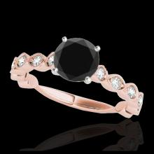 Lot 5010: 1.5 CTW Certified VS Black Diamond Solitaire Ring 10K Rose Gold - REF-64W2F - 34884