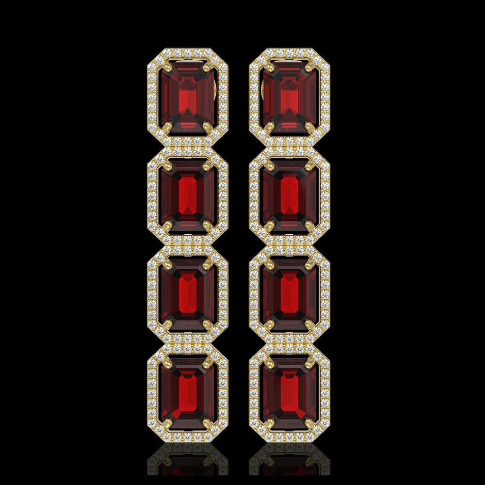 17.8 CTW Garnet & Diamond Halo Earrings 10K Yellow Gold - REF-174A2X - 41617