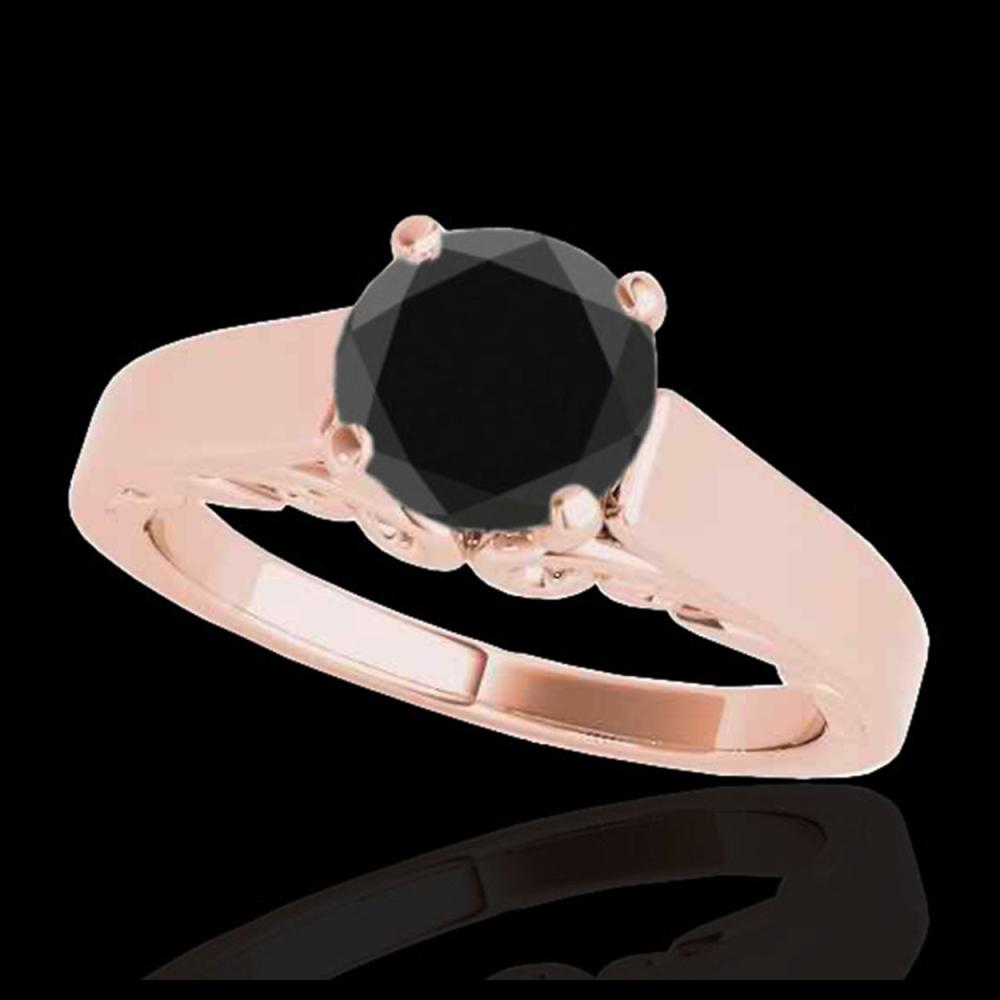 1 CTW Certified VS Black Diamond Solitaire Ring 10K Rose Gold - REF-44W5F - 35141