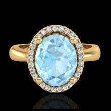 Lot 5017: 2.50 CTW Aquamarine & Micro Pave VS/SI Diamond Ring Halo 18K Yellow Gold - REF-60H4A - 21096