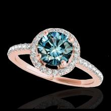 Lot 5021: 1.4 CTW SI Certified Fancy Blue Diamond Solitaire Halo Ring 10K Rose Gold - REF-172Y8K - 34102