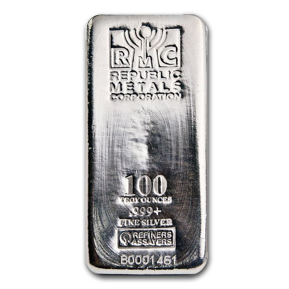 Lot 5022: One piece 100 oz 0.999 Fine Silver Bar Republic Metals Corporation-84703
