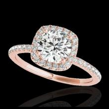 Lot 5029: 1.5 CTW H-SI/I Certified Diamond Solitaire Halo Ring 10K Rose Gold - REF-209F3N - 33335