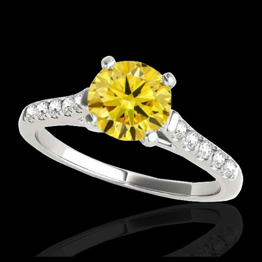 1.45 CTW Certified SI/I Fancy Intense Yellow Diamond Solitaire Ring 10K White Gold - REF-163H5A - 34986