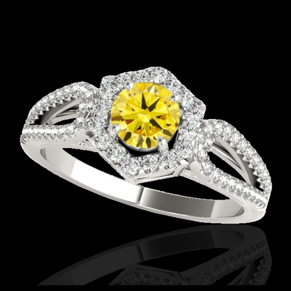 1.43 CTW Certified SI/I Fancy Intense Yellow Diamond Solitaire Halo Ring 10K White Gold - REF-176N4Y - 34023