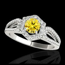 Lot 5033: 1.43 CTW Certified SI/I Fancy Intense Yellow Diamond Solitaire Halo Ring 10K White Gold - REF-176N4Y - 34023