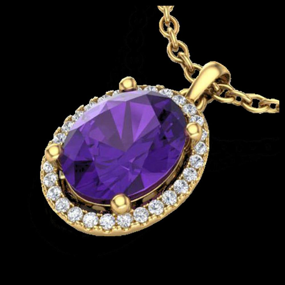 2.50 CTW Amethyst & Micro Pave VS/SI Diamond Necklace Halo 18K Yellow Gold - REF-44X9T - 21068