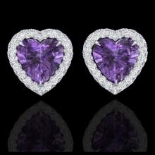 Lot 5041: 2 CTW Amethyst & Micro Pave VS/SI Diamond Earrings Heart Halo 14K White Gold - REF-42T8M - 21199
