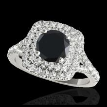Lot 5037: 1.6 CTW Certified VS Black Diamond Solitaire Halo Ring 10K White Gold - REF-78X4T - 33361