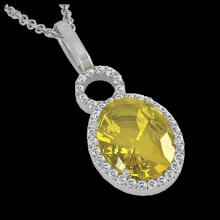 Lot 5044: 3 CTW Citrine & Micro Pave Solitaire Halo VS/SI Diamond Necklace 14K White Gold - REF-45K3W - 22756