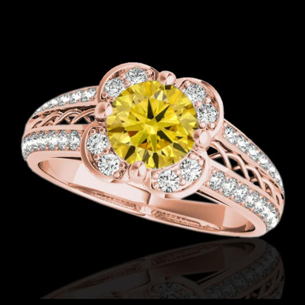 1.5 CTW Certified SI/I Fancy Intense Yellow Diamond Solitaire Halo Ring 10K Rose Gold - REF-180H2A - 34264